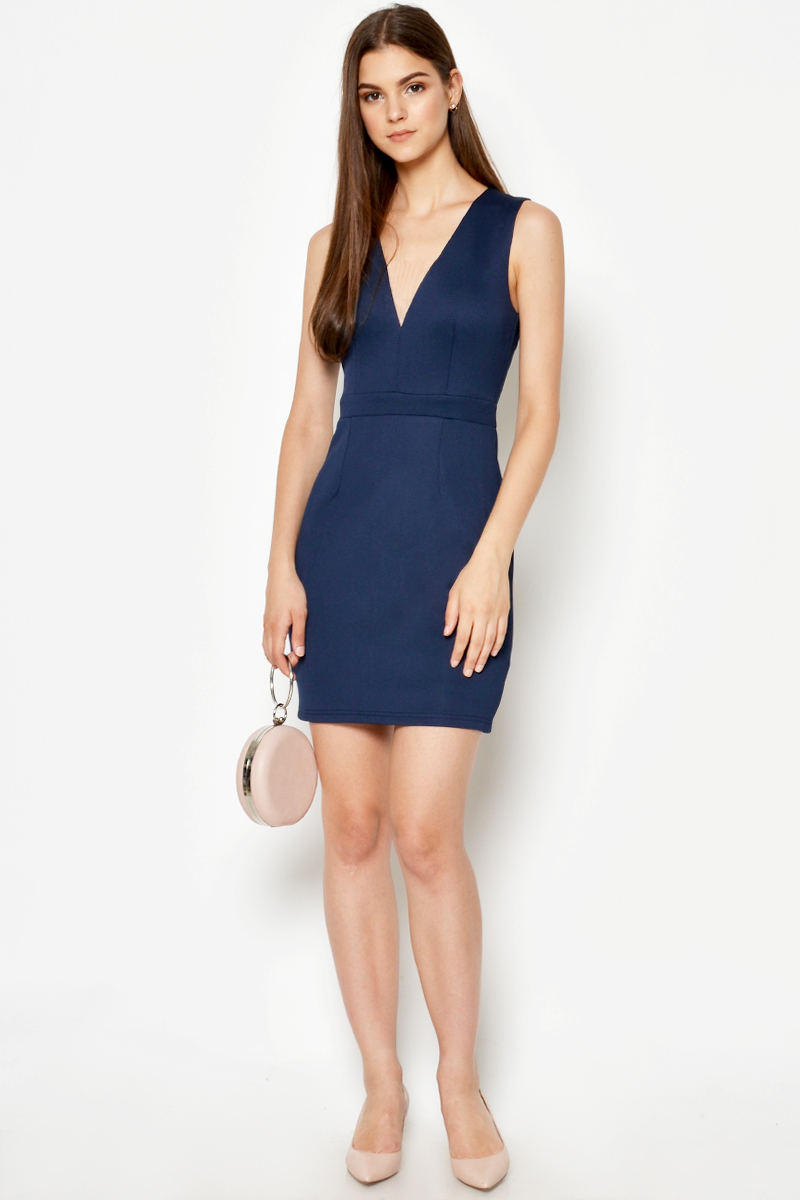 INAYA MESH INSERT SHEATH DRESS