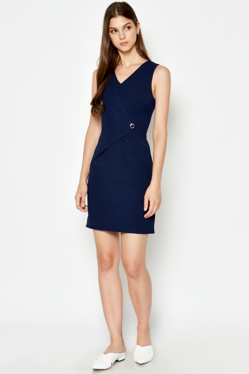 JONA FOLDOVER BUTTON DRESS
