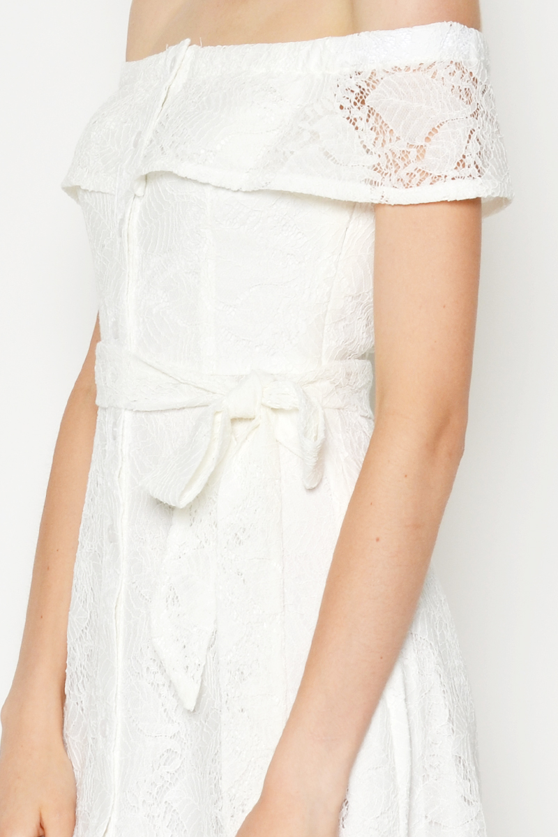 EMELY LACE OFF SHOULDER DRESS W SASH