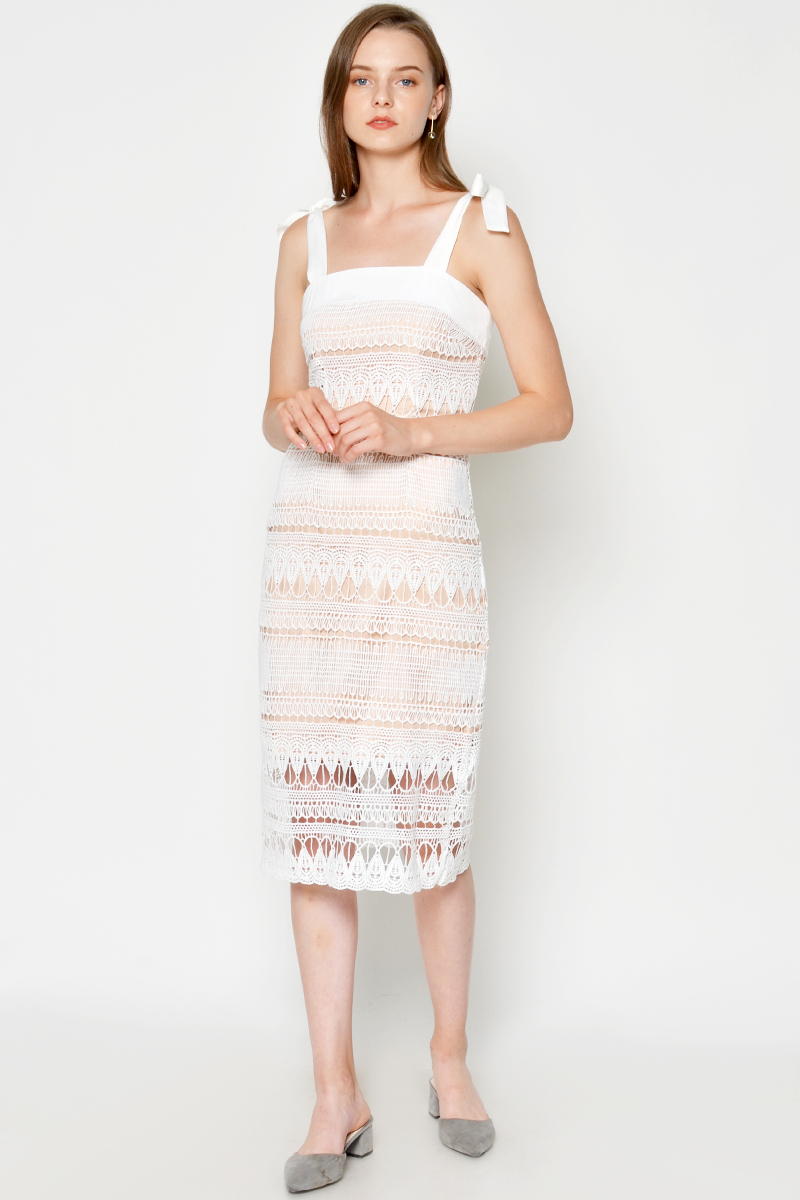 DARRA LACE OVERLAY MIDI DRESS