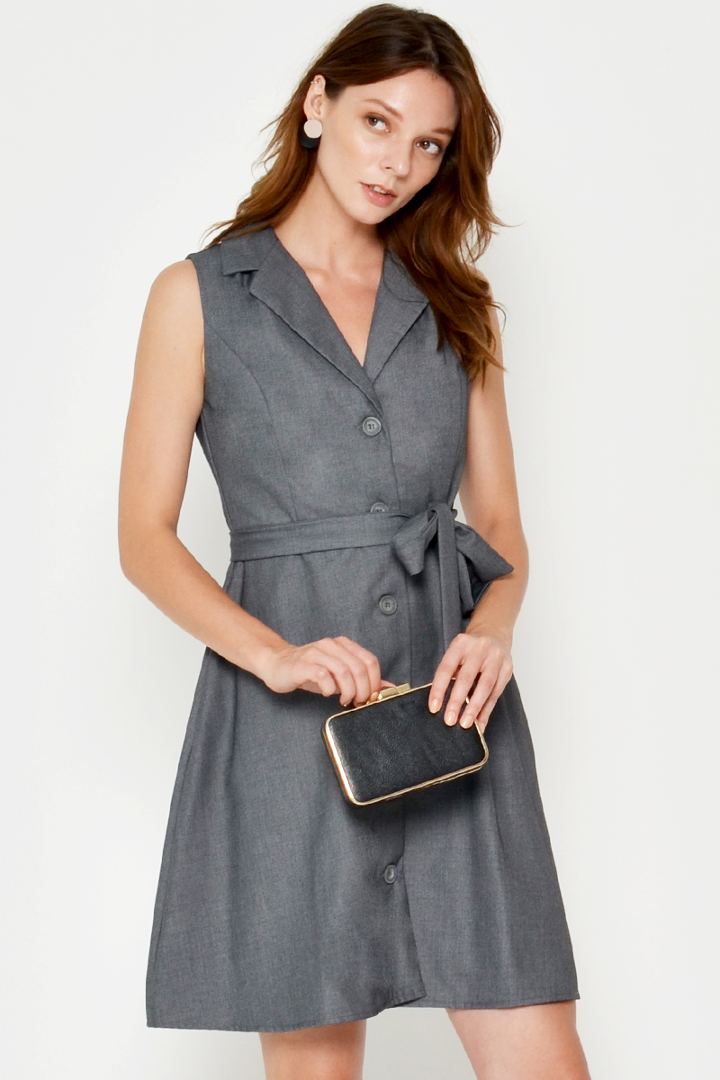 MAGDELINE BUTTONDOWN FLARE DRESS W SASH
