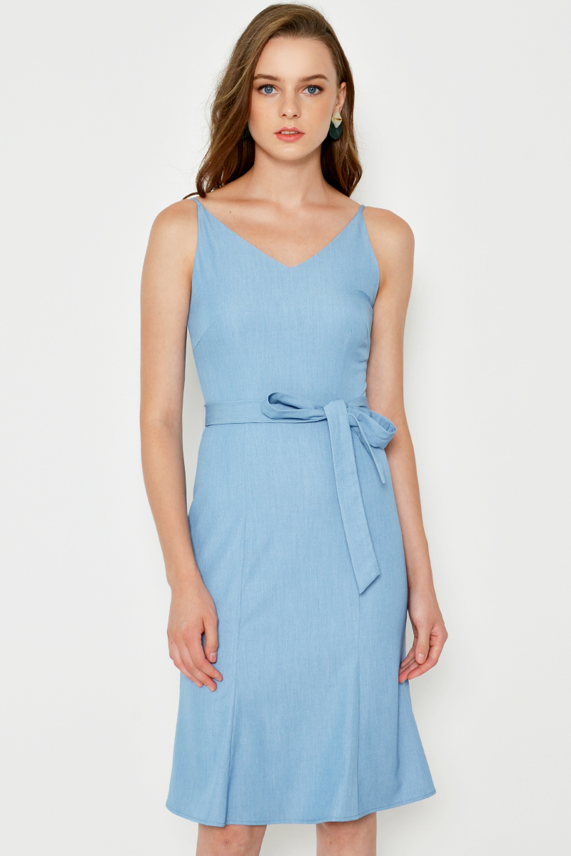BREXO DENIM FLOUNCE DRESS W SASH