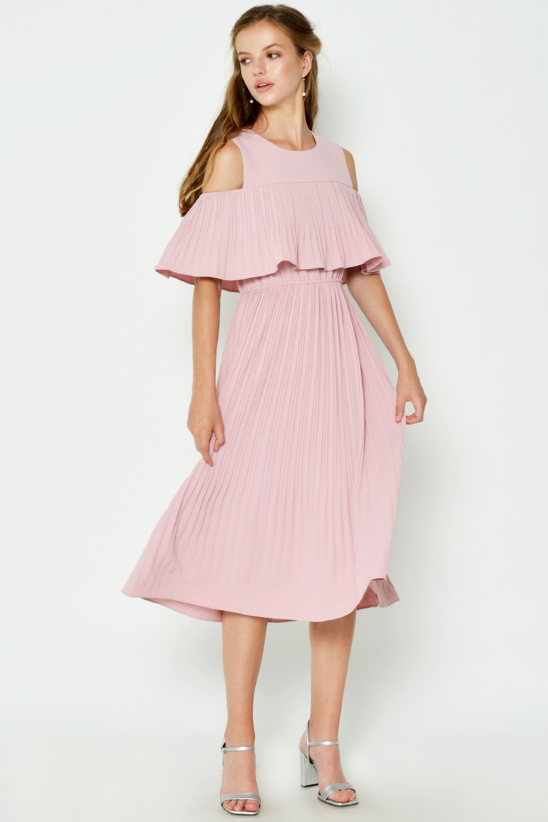 JOZIAH COLD SHOULDER PLEATED MIDI DRESS