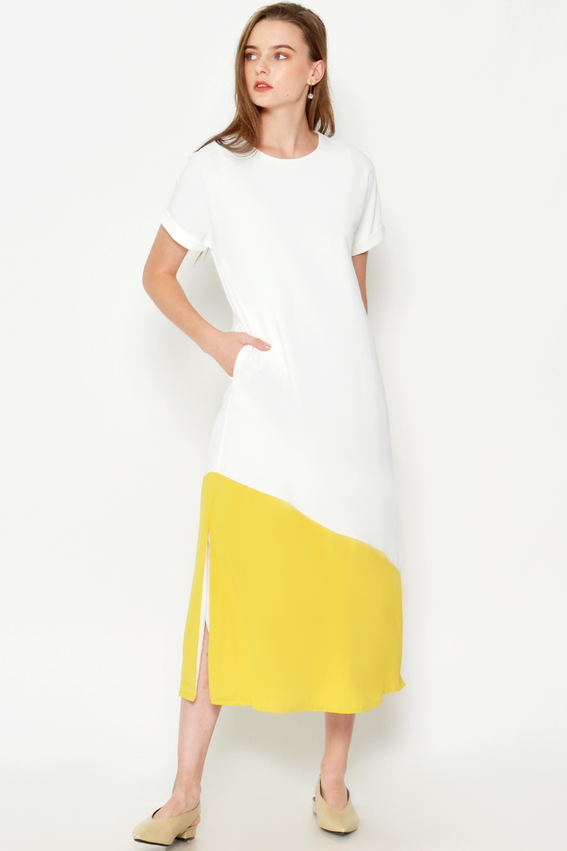 EUKENE COLOURBLOCK DRESS W SASH