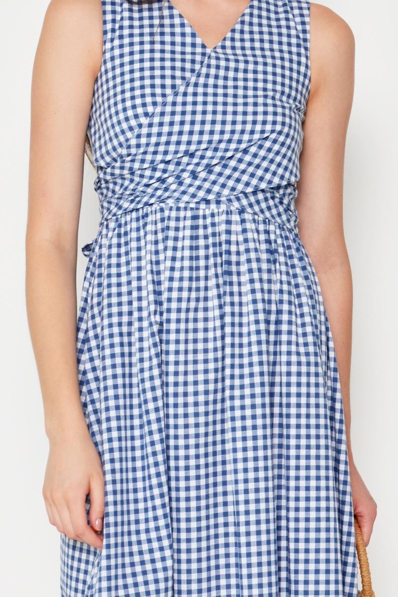 JESSIE CHECKERED WRAP DRESS
