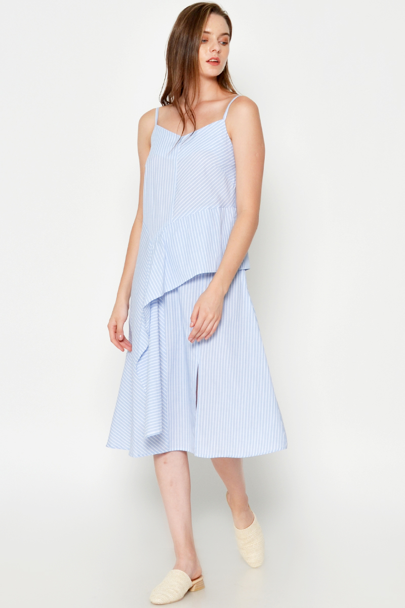 VANO STRIPE LAYERED MIDI DRESS