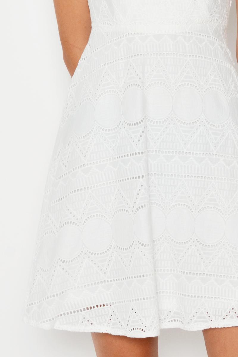ADELIA EYELET FLARE DRESS
