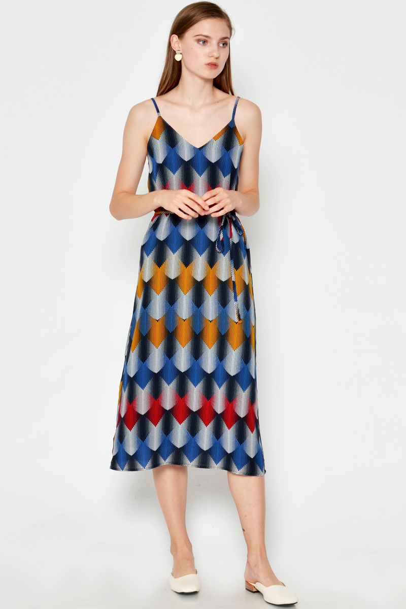 CHARLOTTE ABSTRACT PRINTED DRESS W SASH