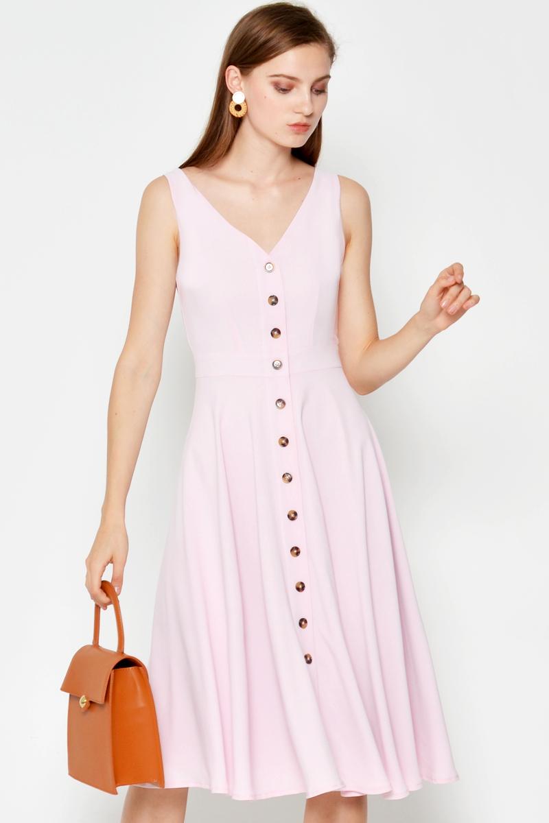NATHANYA BUTTONDOWN SWING DRESS