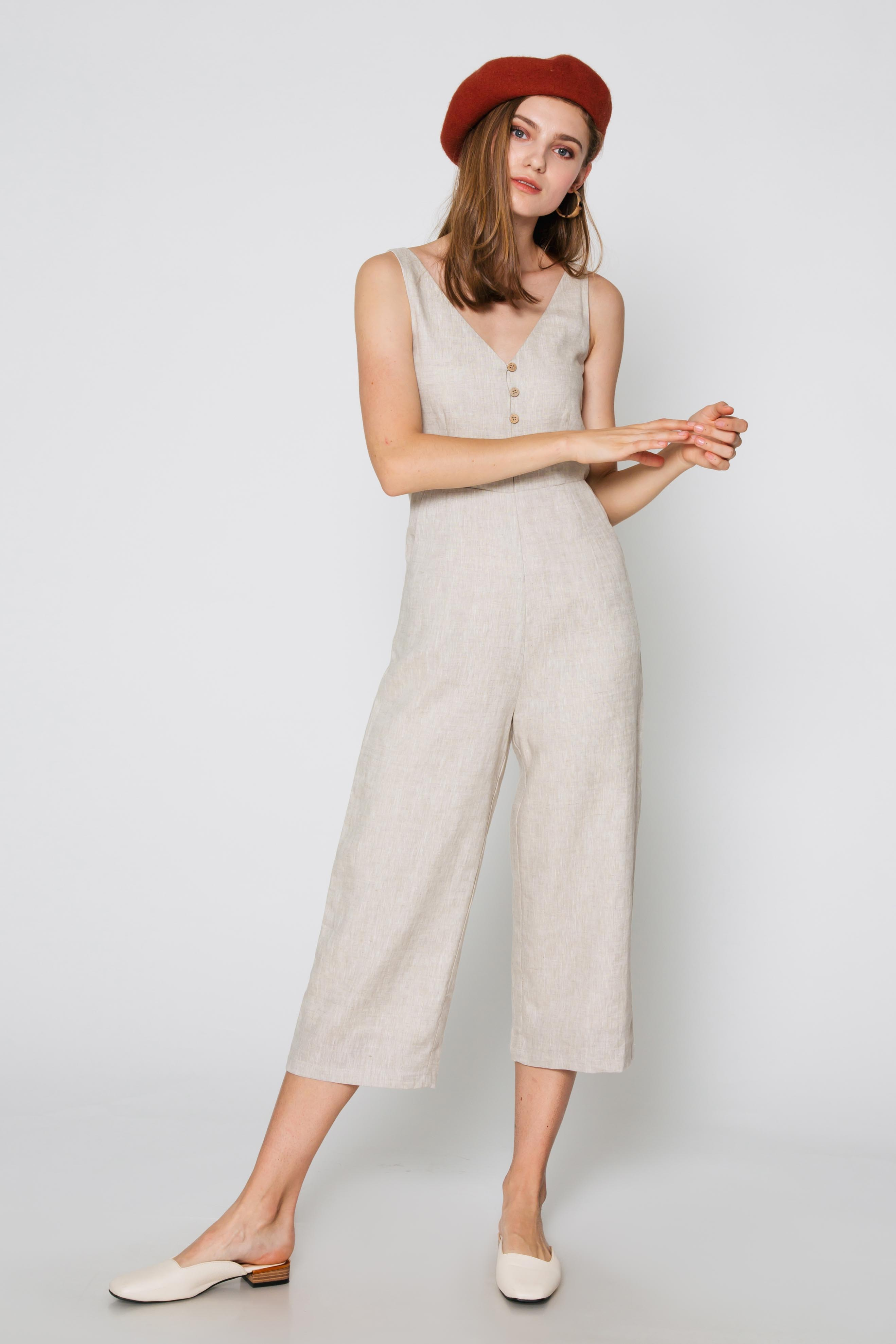 POLLY BUTTON LINEN JUMPSUIT