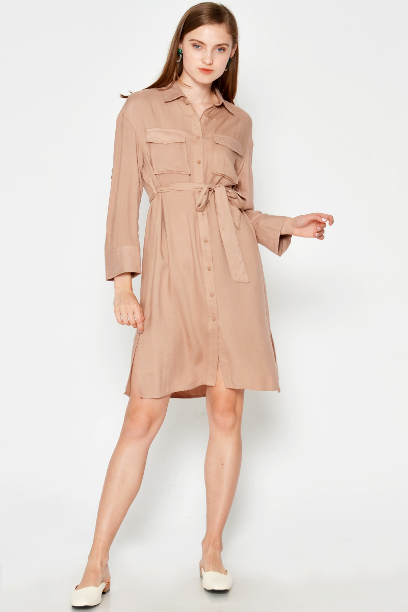 BRYCE BUTTONDOWN SHIRT DRESS W SASH