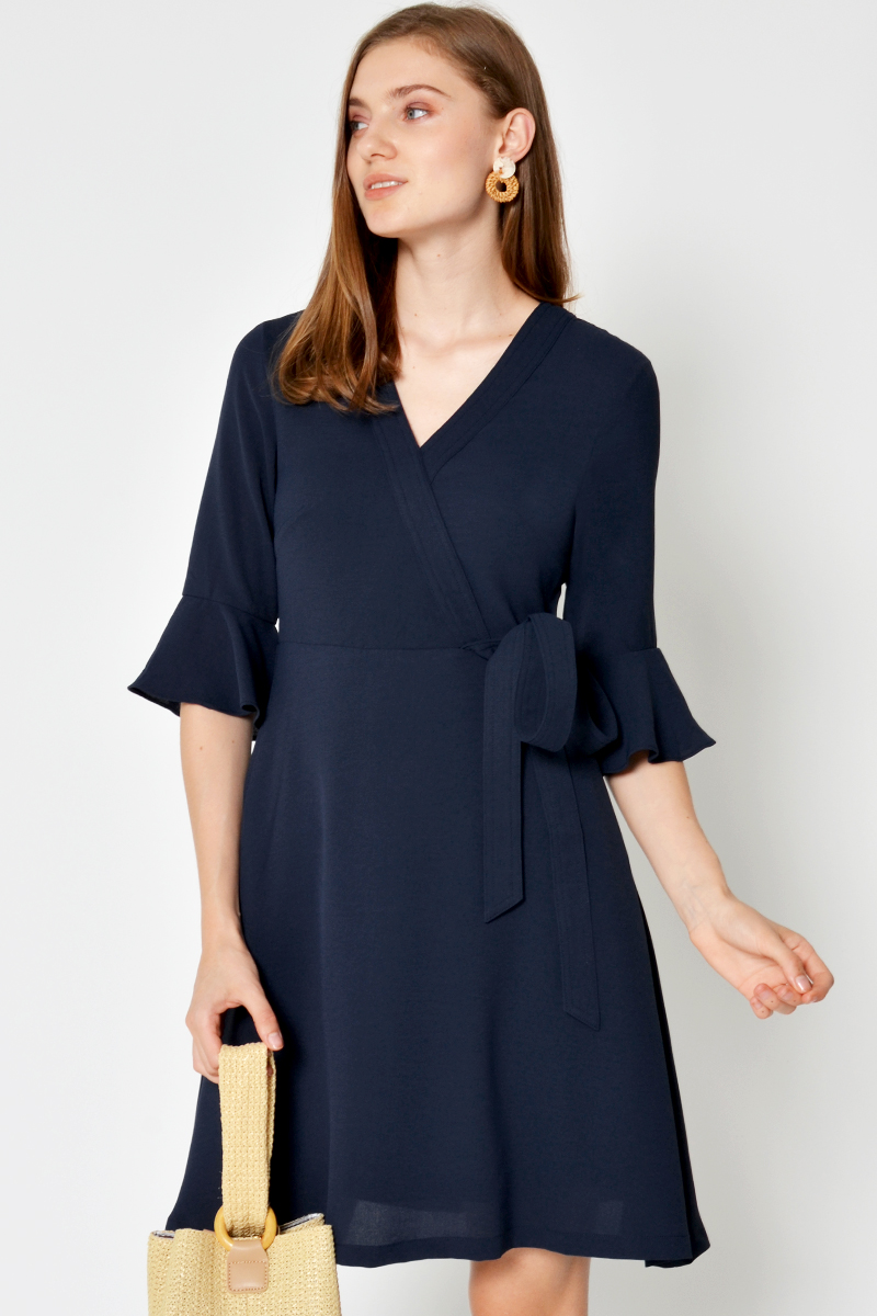 ITZEL BELL SLEEVE WRAP DRESS