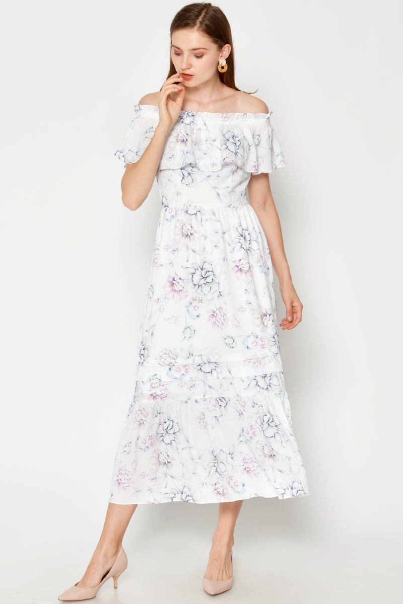 KATRINA OFFSHOULDER FLORAL MAXI DRESS