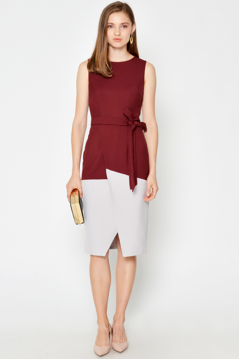 KYLOE COLOURBLOCK LAYERED DRESS W SASH