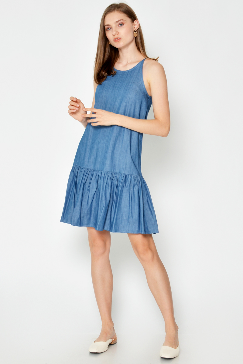 LINDSAY DENIM DROPWAIST DRESS