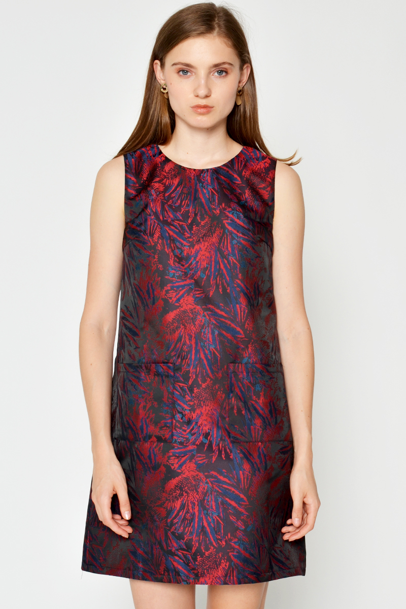 MARIBEL BROCADE SHIFT DRESS