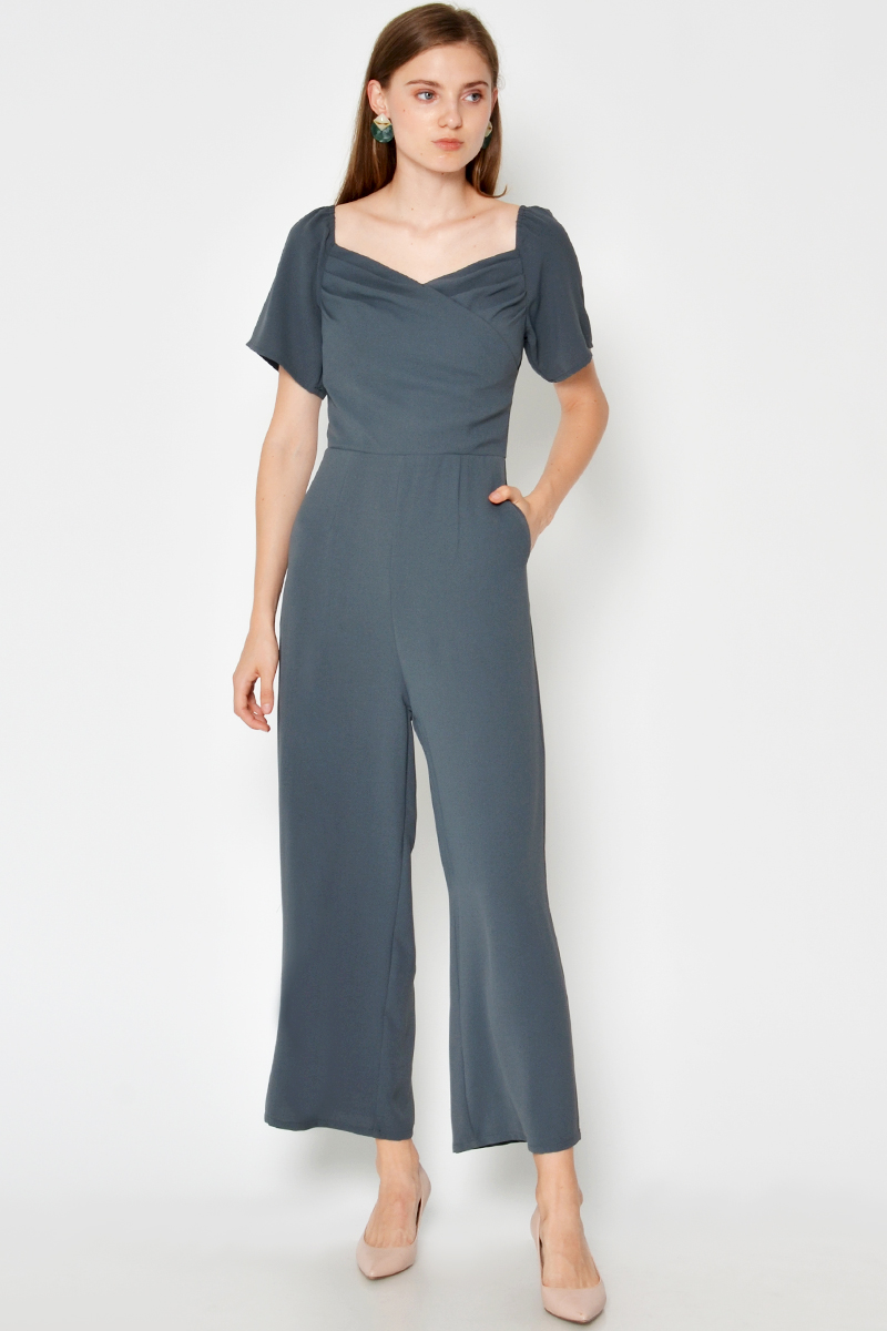RIKELA RUCHED OFFSHOULDER JUMPSUIT