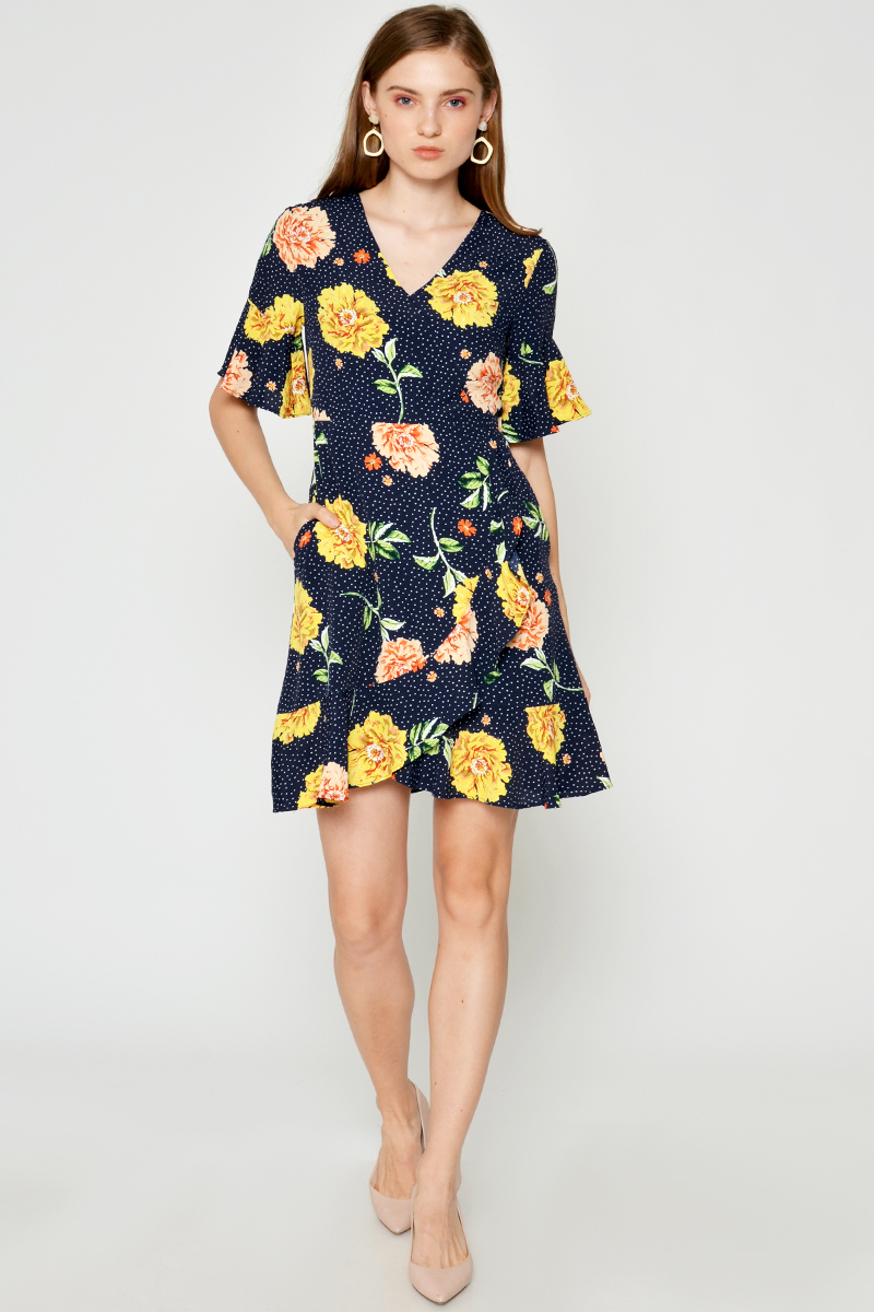 BELLAMY FLORAL WRAP DRESS