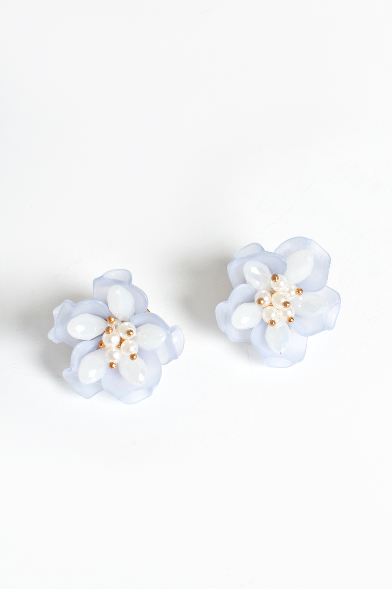 FLORAL BEAD EARRINGS POWDER BLUE