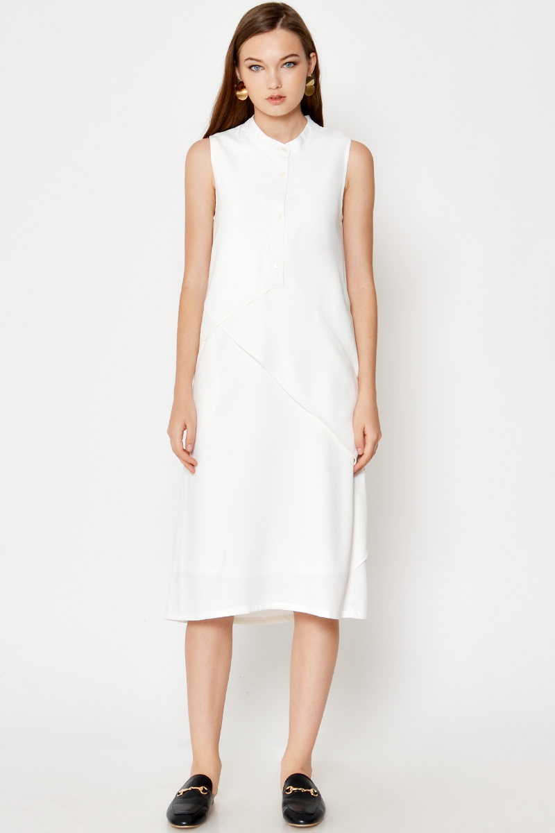 ADRIAN BUTTON LAYERED DRESS