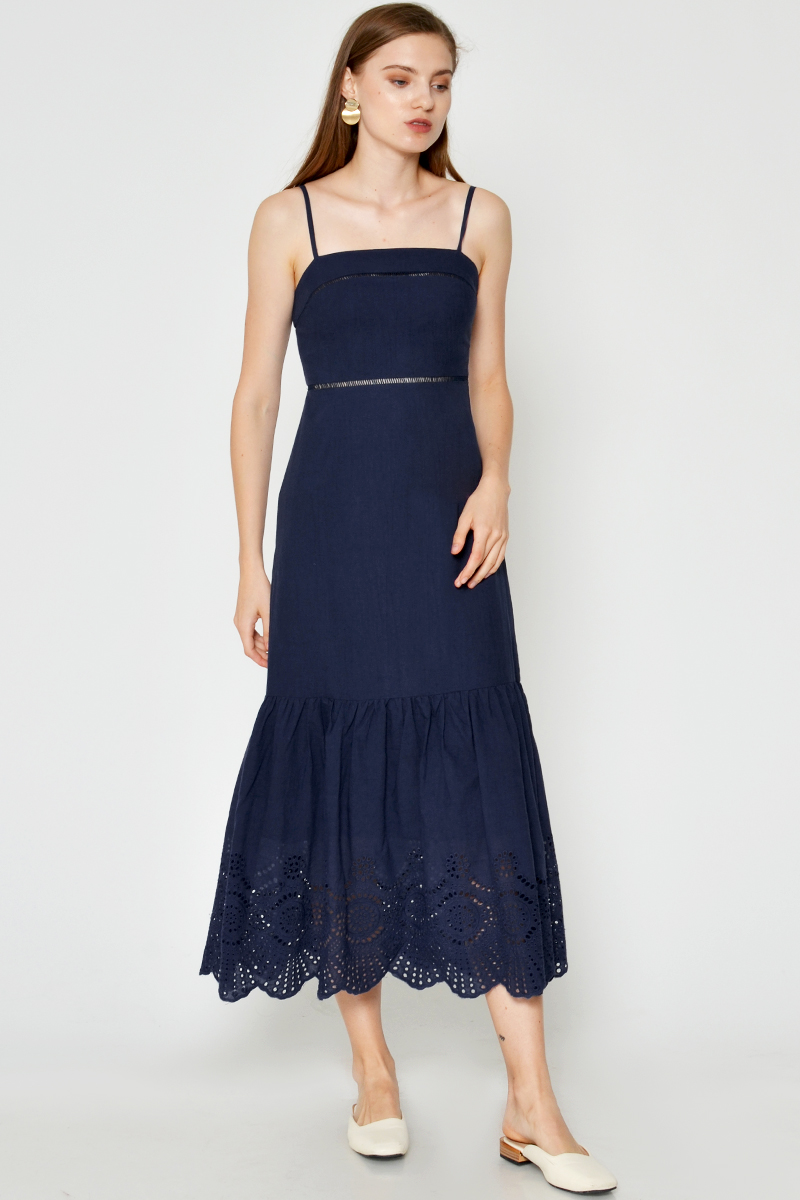 DIARA CUTOUT EYELET MAXI DRESS