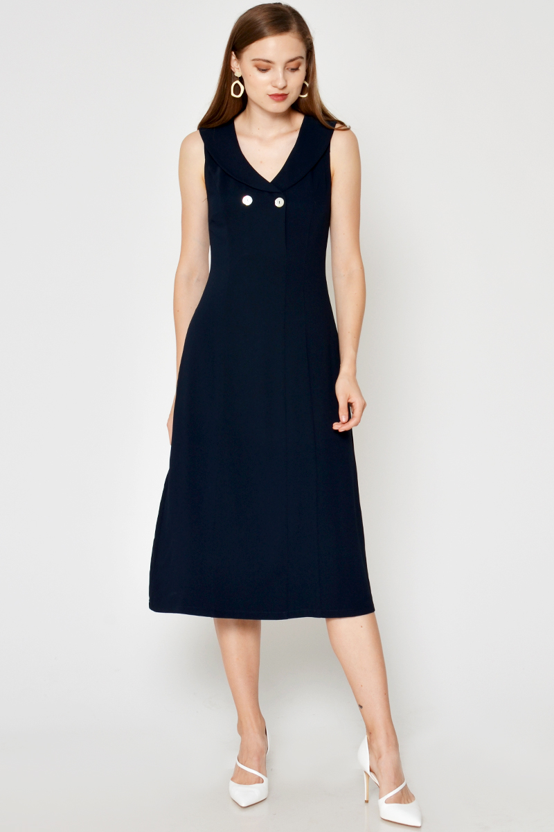 KATLEN SAILOR COLLAR MIDI DRESS