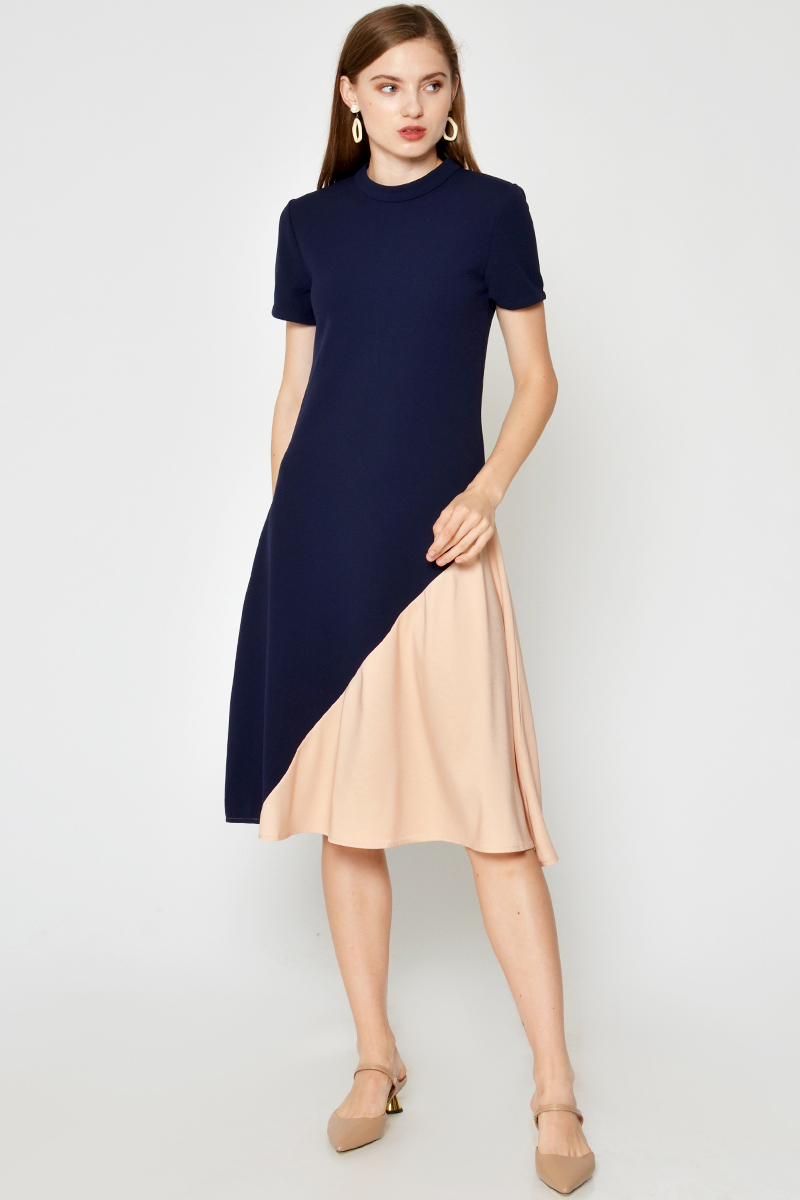 ORIANA COLOURBLOCK SWING DRESS