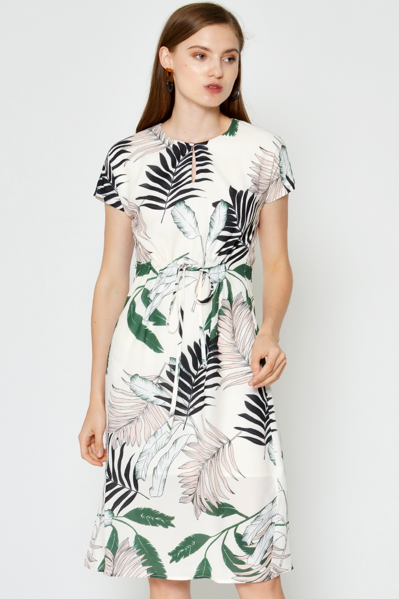 SYARA BOTANICAL DRAWSTRING DRESS