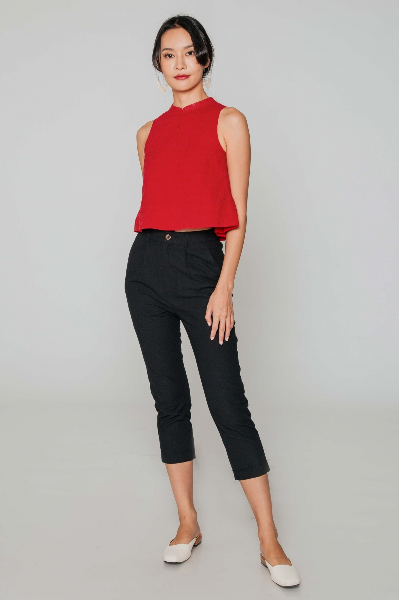 KYRIE EYELET MANDARIN COLLAR TOP W DETACHABLE COLLAR