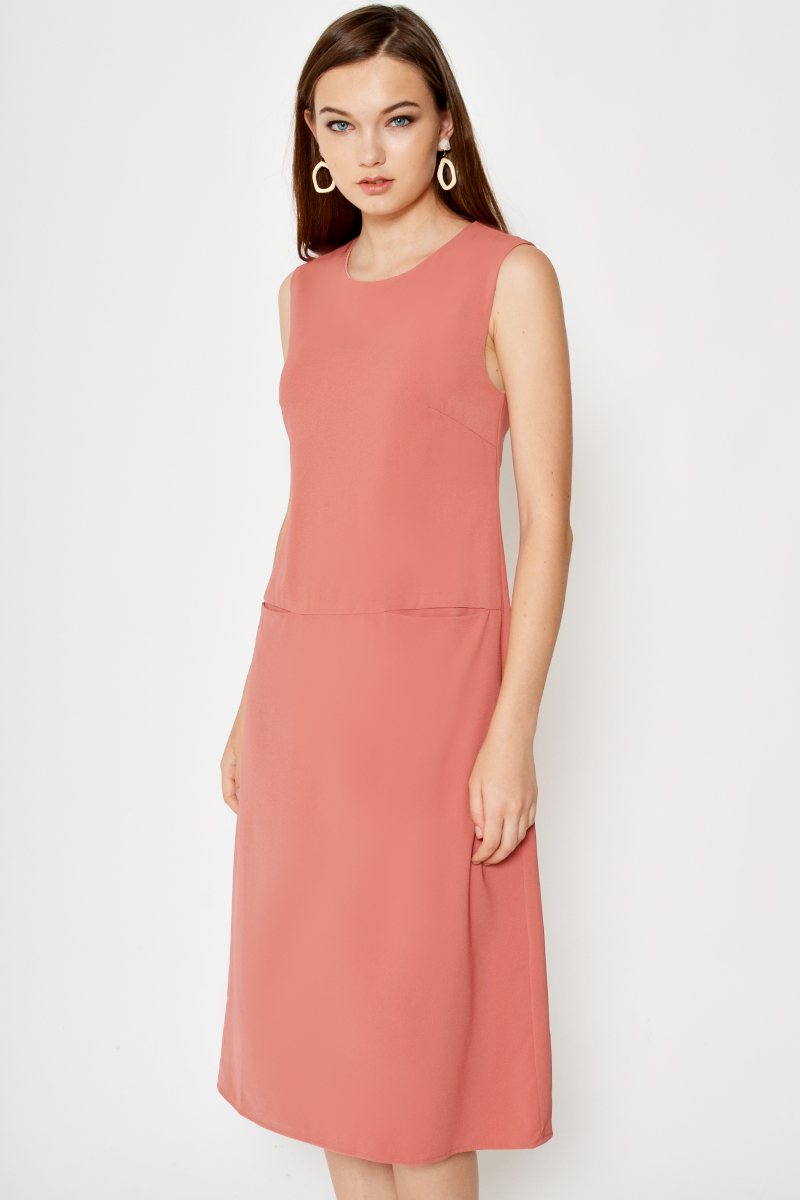 FARYL FRONT POCKET MIDI DRESS