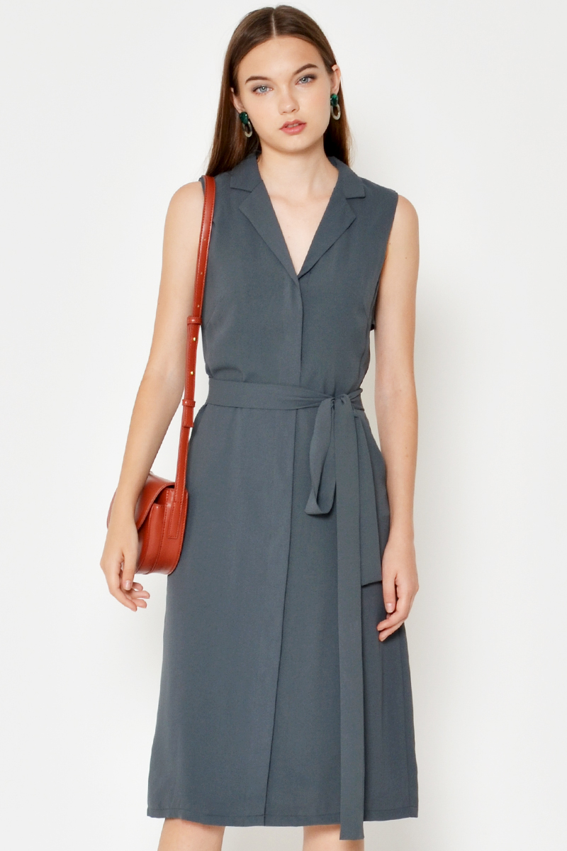 KINSLYN TRENCH DRESS W SASH