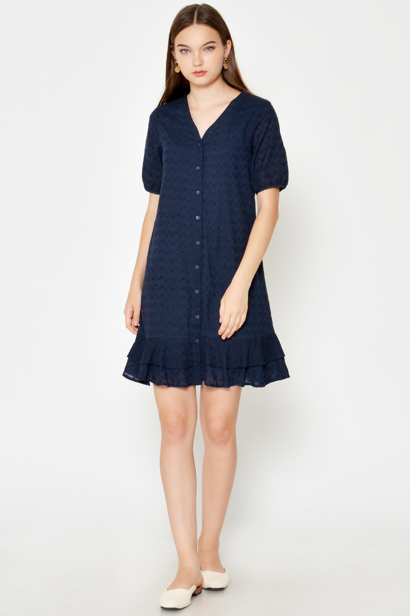 LANDY EYELET TIERED DROPWAIST DRESS