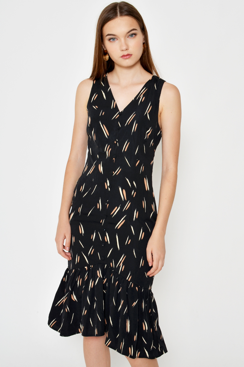 LARA ABSTRACT MIDI DRESS