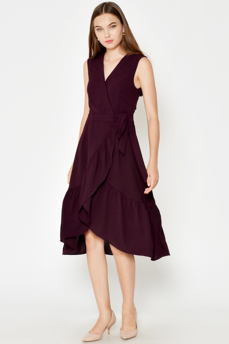 CHRISSY RUFFLE WRAP MIDI DRESS
