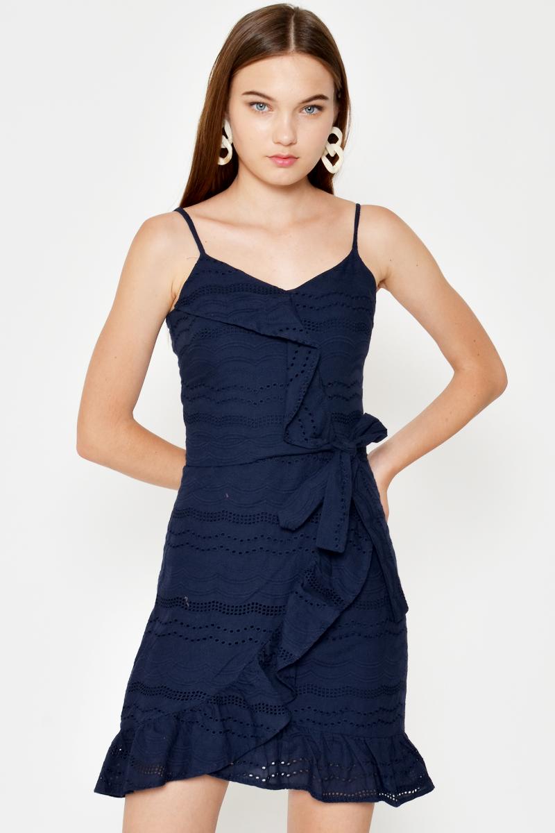 RIMONA RUFFLE EYELET WRAP DRESS