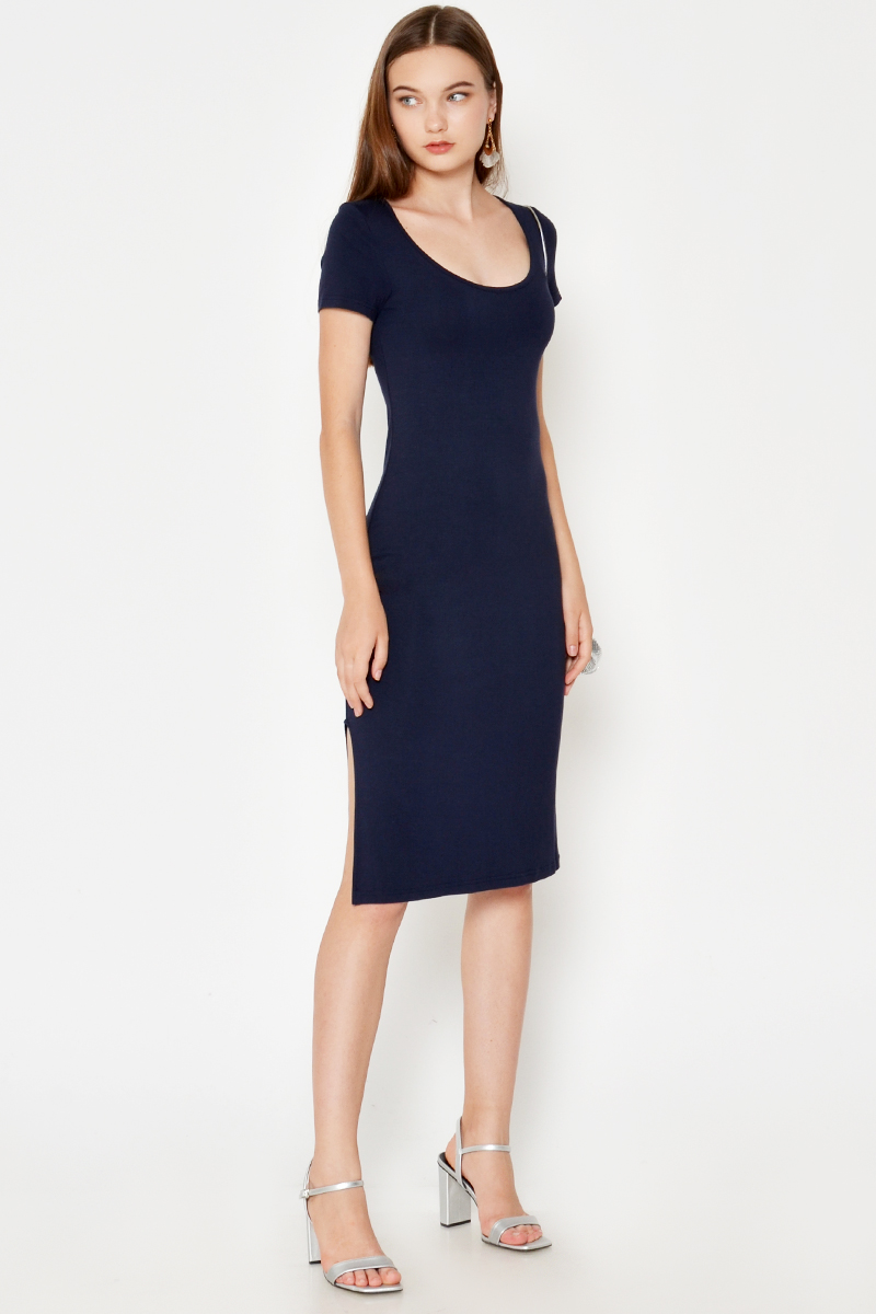 SEPHINA CURVED SLIT MIDI DRESS