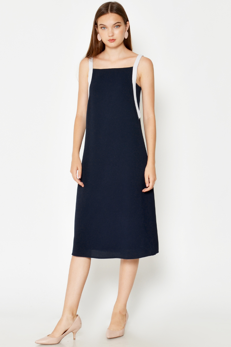 JULIX CONTRAST STRAP MIDI DRESS