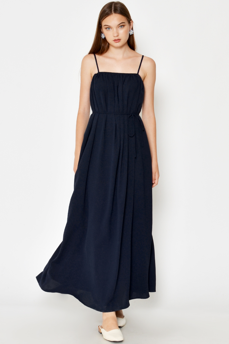 KASSI RUCHED MAXI DRESS W SASH
