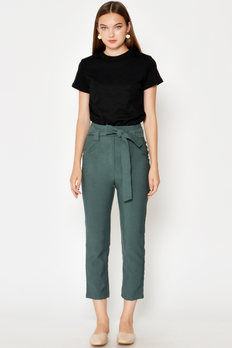 PALANE HIGHWAIST TIEWAIST CIGARETTE PANTS