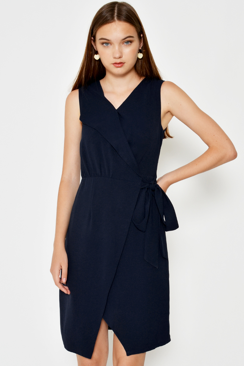 SAMARRA FOLDOVER WRAP DRESS