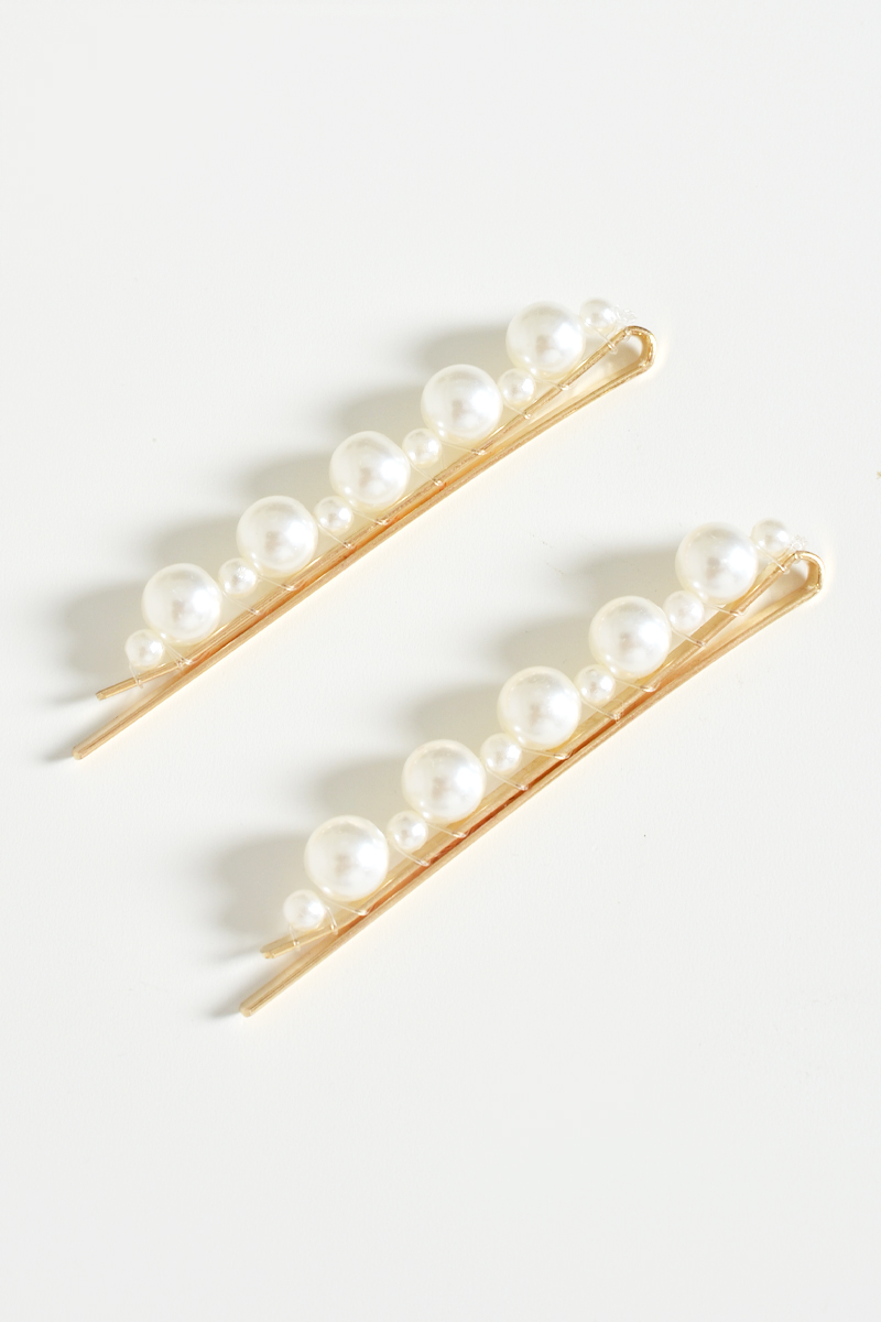 IRREGULAR PEARL LONG CLIPS (SET OF 2)