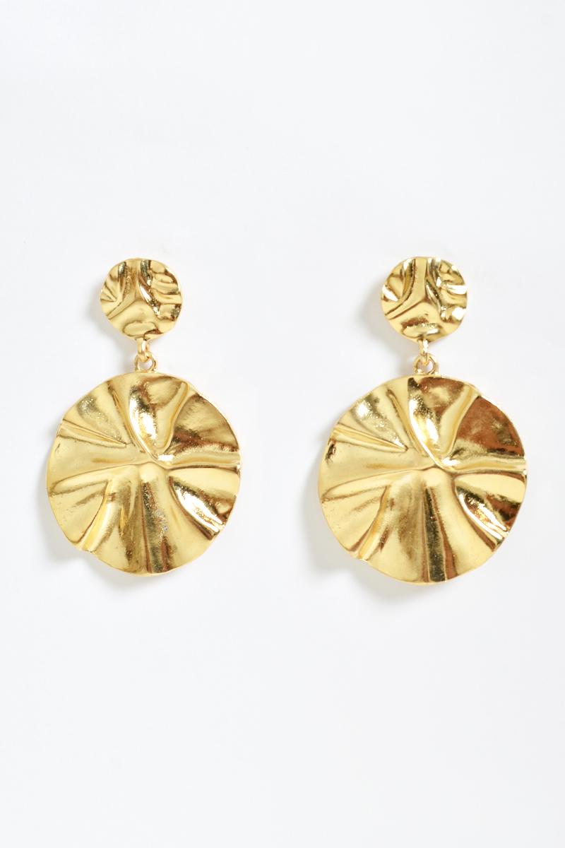 DUO CRINKLE DROP EARRINGS GOLD