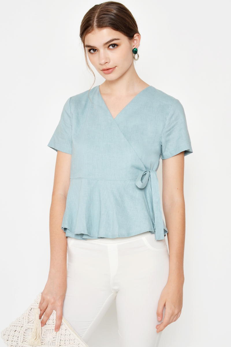 WESTON LINEN WRAP TOP