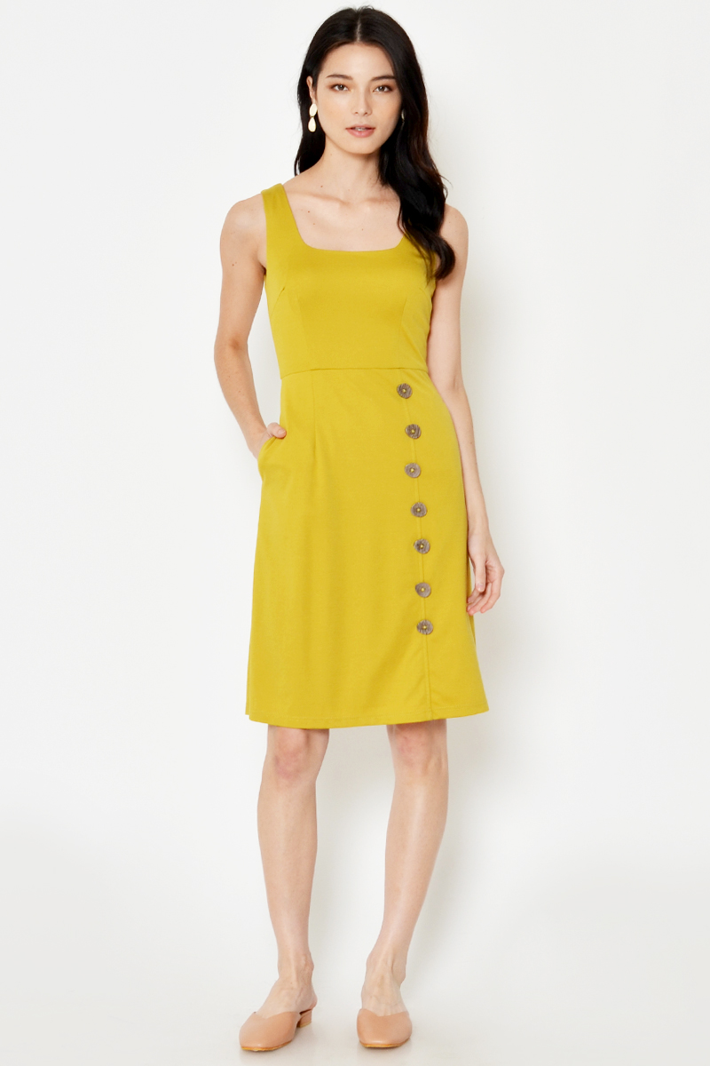 DAEGAN SQUARENECK BUTTON DRESS