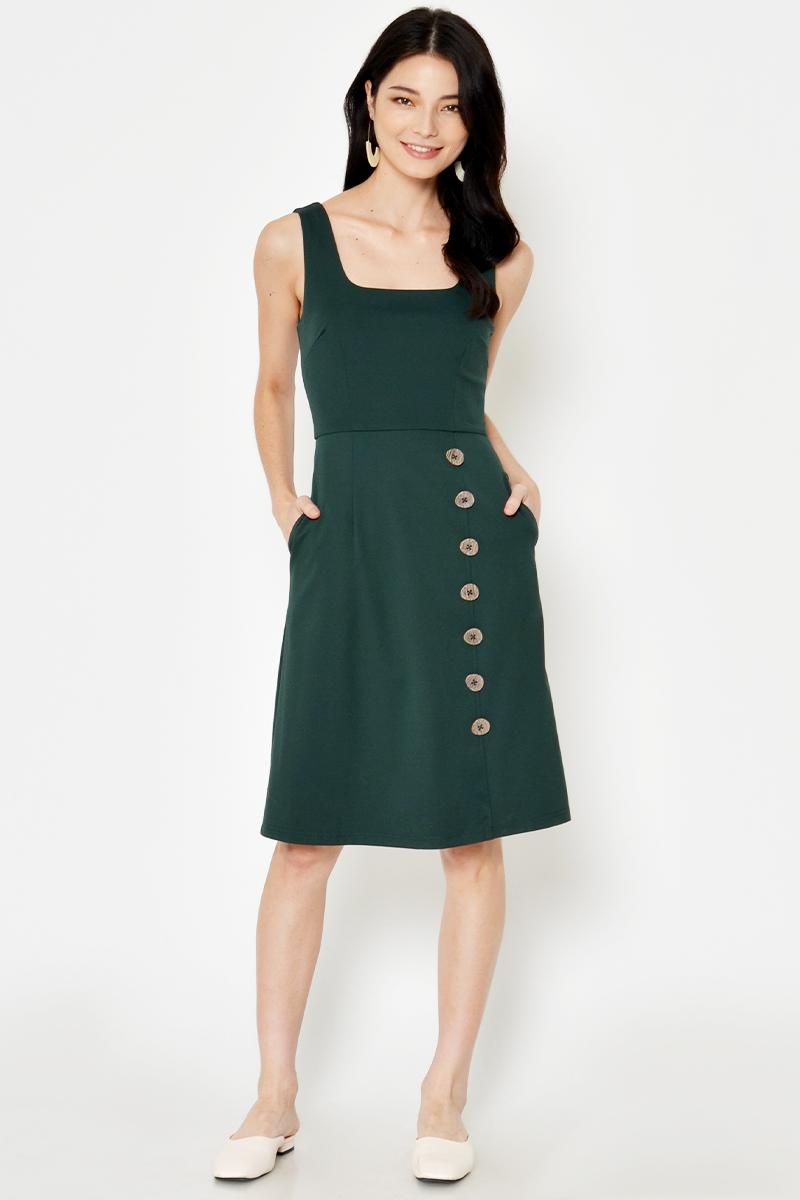 DAEGAN SQUARENECK BUTTON DRESS