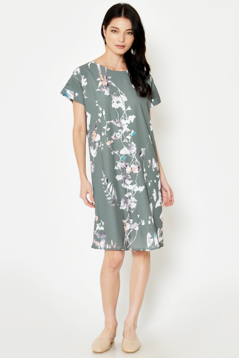 JAELLE FLORAL MIDI DRESS W SASH