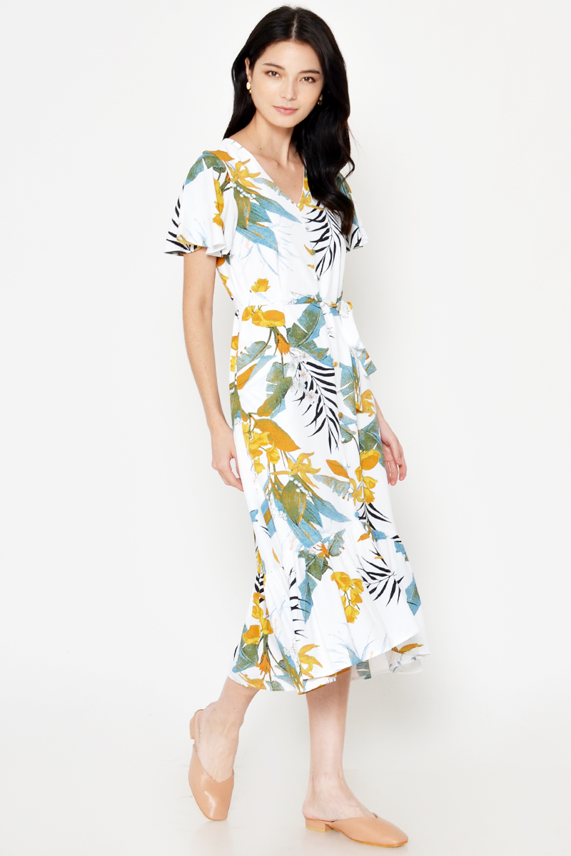 PALMA TROPICAL FLORAL MIDI DRESS W SASH