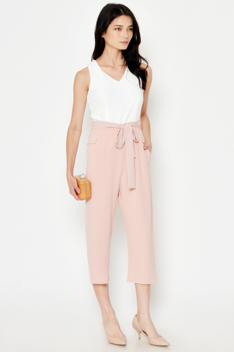 QADIA COLOURBLOCK JUMPSUIT W SASH