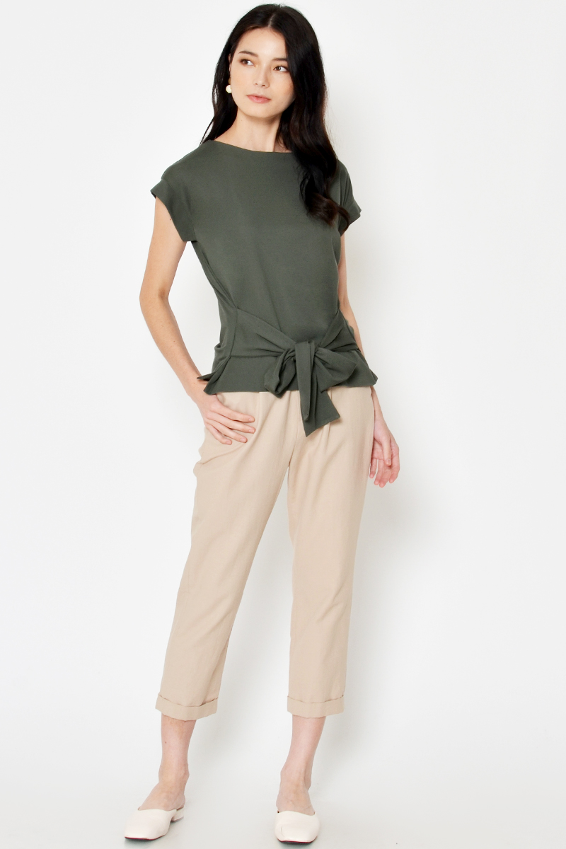 RAFAEL BASIC TIE WAIST TOP