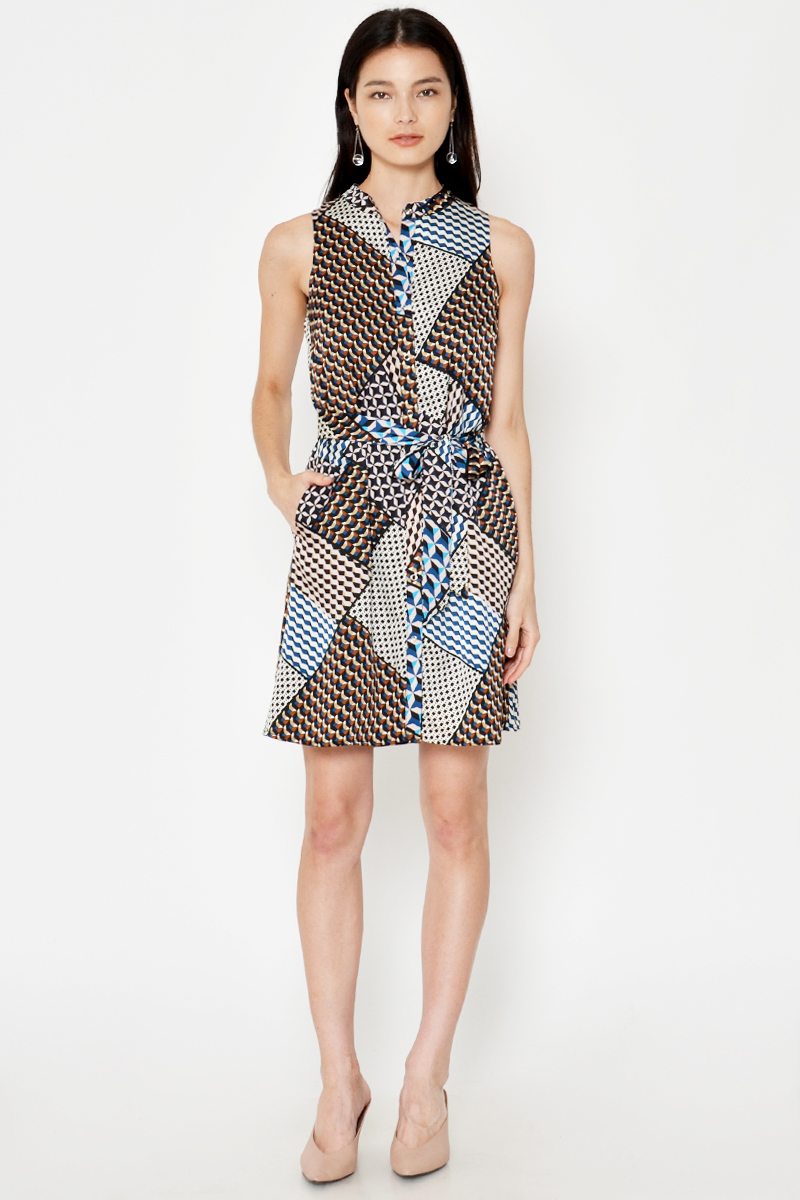 ARINA ABSTRACT BUTTONDOWN DRESS